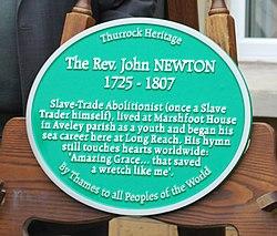 Photo of John Newton green plaque