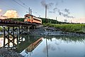 Johnstown 357 crossing trestle at sunset, August 2016.jpg