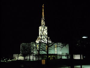 Jordan River Utah Temple - Jordan River Temple at night.