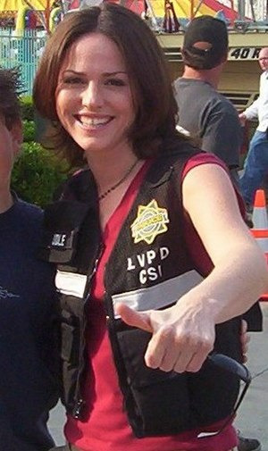Jorja Fox - Fox on the set of CSI, March 2004