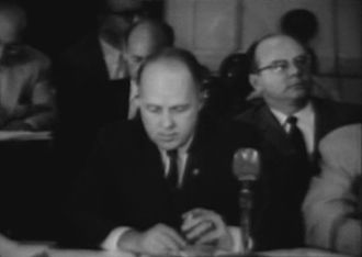 Newburgh, New York - City manager Joseph Mitchell attending the Newburgh City Council in 1961