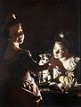 Joseph Wright of Derby. Two Girls Dressing a Kitten by Candlelight. c. 1768-70.jpg