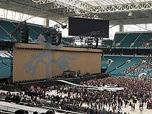 Set design of Joshua Tree Tour 2017 seen at the Hard Rock Stadium in Miami Gardens, Florida prior to a show.
