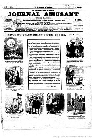 Journal amusant - Front page of the first edition, 5 January 1856