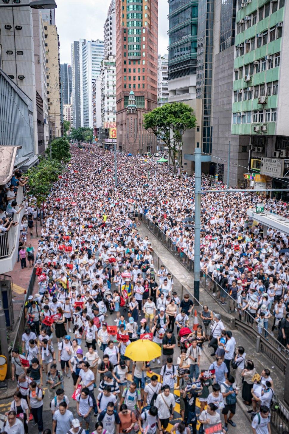 Manifestants sur le chemin Hennesey, coin de la rue de l'Arsenal à Admiralty (Hong Kong), le 9 juin 2019