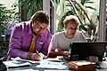 Kaarel and Ivo dealing with important stuff at Estonian Wikipedia summer days 2019.2.jpg