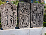 Kachkars at Echmiadzin Catherdral, Armenia.jpg