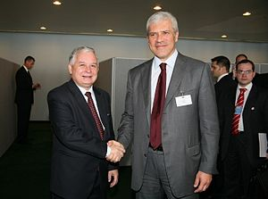 Poland–Serbia relations - Boris Tadić meeting with Lech Kaczyński, at the 63rd UN General Assembly session in September 2008