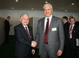 Boris Tadić - Meeting with Lech Kaczyński, late President of Poland, at the 63rd UN General Assembly session in September 2008