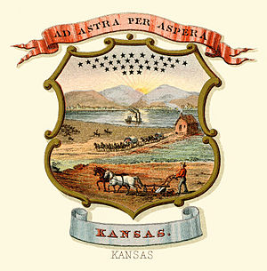Seal of Kansas - Kansas state historical coat of arms (illustrated, 1876)