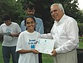 Kapil Sibal felicitated Miss Vaishnavi Viswanathan one of the winner of Science Fair IRIS (Initiative for Research & Innovation in Science), in New Delhi on July 23, 2007.jpg