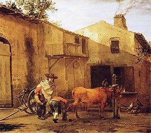 Karel Dujardin - A Smith Shoeing an Ox
