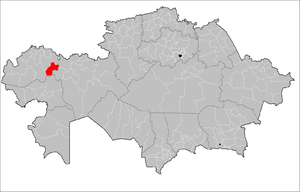 Location of Karatobe District in Kazakhstan