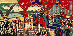 Meiji Constitution - Meiji Constitution promulgation by Toyohara Chikanobu