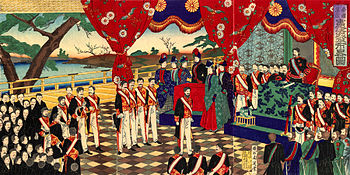 Proclamation of the Constitution, Japanese colored woodcut by Chikanobu, 1889