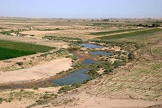 Mäandernder Unterlauf etwa 60 km vor der Einmündung in den Euphrat bei Tell Schech Hamad