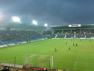 Rugby Park - Looking towards the Moffat Stand (right) and the East Stand (left).