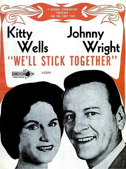 Ad featuring Kitty Wells and husband Johnnie Wright's first joint album, We'll Stick Together Kitty Wells Johnnie Wright 1968.jpg