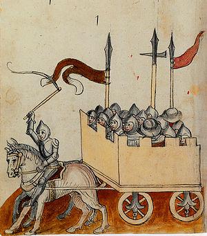 Konrad Kyeser - War wagon (Clm 30150 manuscript)
