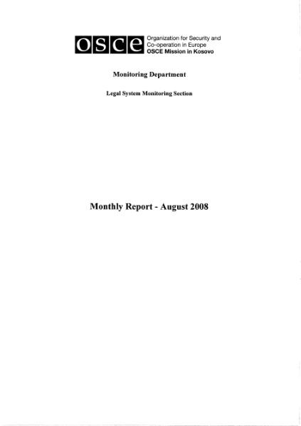 File:Kosovo OSCE Legal System Monitoring Section Monthly Report - August 2008.djvu
