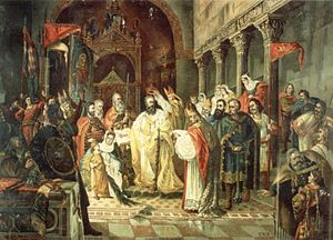 Demetrius Zvonimir of Croatia - Coronation of Zvonimir by Ferdo Quiquerez, 1897