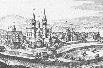 Fulda Cathedral - View of the abbey, showing in the centre the Ratgar Basilica, predecessor of the present cathedral (copper engraving 1655)