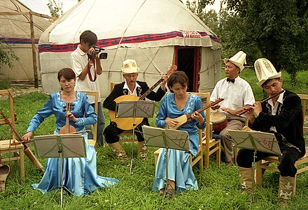Musicians playing traditional Kyrgyz music. Kyrgyz Musicians in Karakol.jpg