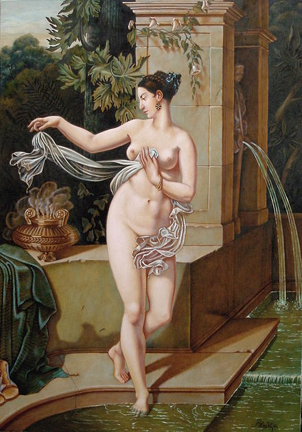Copy After Blondel of painting lost on the RMS Titanic in 1912. La Circassienne au Bain, After Blondel.JPG