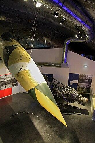 La Coupole - Original V-2 rocket and engine on display under the dome of La Coupole