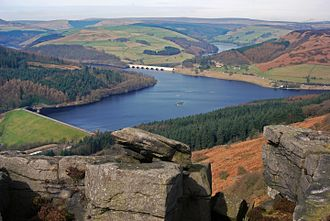 Ladybower Reservoir - Ladybower Reservoir from Bamford Edge (seen in the foreground); the wall can be seen in the bottom left and the Ashopton Viaduct in the top centre