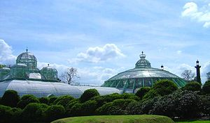 Royal Greenhouses of Laeken - The Serre du Congo or Congoserre (left) and the Grote wintertuin or Grand Jardin d'hiver (right), part of the Royal Greenhouses of Laeken