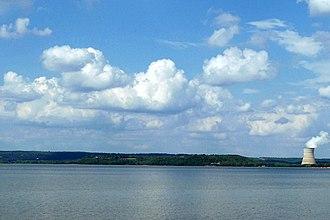 Lake Dardanelle - Lake Dardanelle, looking north from Arkansas River bridge on State Highway 22 near Delaware in 2013.
