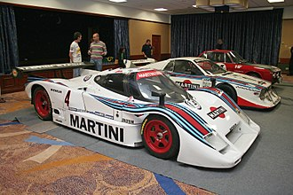Martini Racing - Lancia LC2 racing car (front) in the colours of Martini Racing