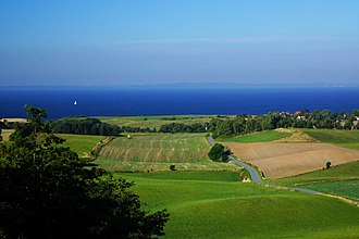 Helgenæs - View across the Bay of Aarhus as seen from the hill of Ellemandsbjerg.
