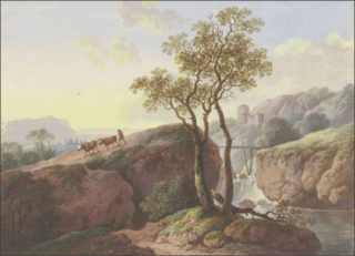 Landscape with a waterfall over which a footbridge leads, on the left a farmer drives two cows down to the valley, in the background a ruin