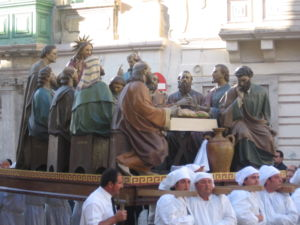 Qormi - Statue of The Last Supper, used during the Good Friday procession in Qormi.