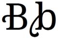 Latin alphabet B with flourish.png
