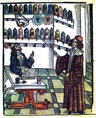History of pharmacy - Doctor and pharmacist, illustration from Medicinarius (1505) by Hieronymus Brunschwig.