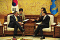 Leon E. Panetta meets Lee Myung-bak at the Blue House in Seoul, South Korea, 2011.jpg