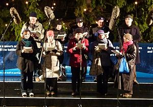 Trafalgar Square Christmas tree - Lewisham Choral Society singing carols in December 2010