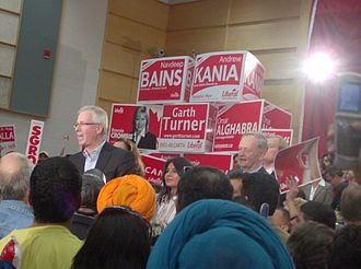 Liberal Party of Canada - Stéphane Dion makes a speech on October 10, 2008 in Brampton West. Former Prime Minister Jean Chrétien was among notable Liberals at this rally; this was his first time campaigning for anyone since retirement.