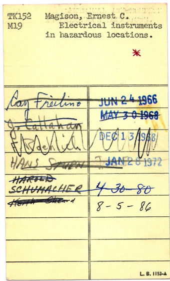 Card used by a user to sign out a book Library card.jpg