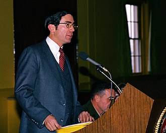 Chuck Robb - Lt. Governor Robb speaks to guests at a luncheon during the Virginia General Assembly's tour of Marine Corps Base Quantico on February 1, 1981.