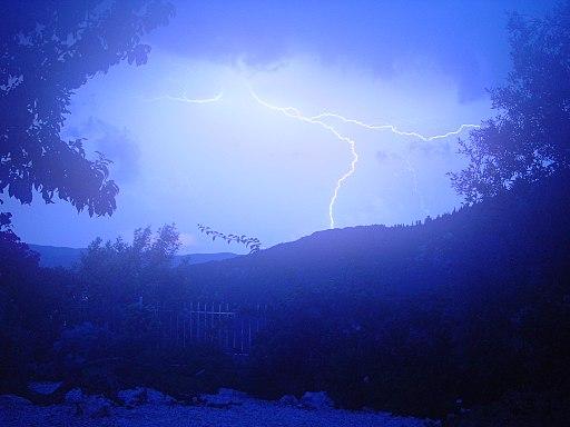 Lightning strikes mountain top