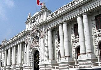 Congress of the Republic of Peru - Details of the façade.