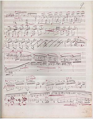 Sonata in B minor (Liszt) - Part of page 11 from the original music manuscript of the sonata.