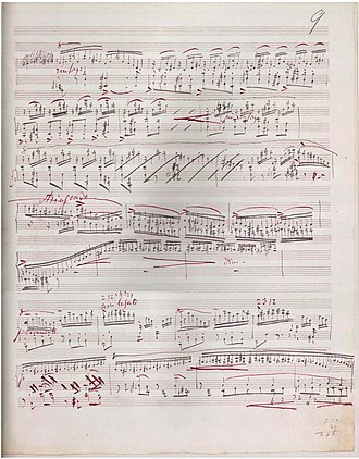 Piano Sonata in B minor (Liszt) - Part of page 11 from the original music manuscript of the sonata.