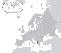 Location of Albania