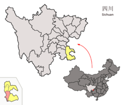 Location of Xuyong County (red) within Luzhou City (yellow) and Sichuan