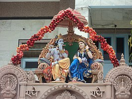 Lord Krishna and her lover Radha in Rangeeli Mahal, Mathura.JPG